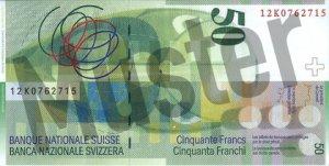 50 Schweizer Franken - CHF (Banknote / Geldschein) - Rückseite
