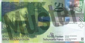 50 Schweizer Franken - CHF (Banknote / Geldschein) - Vorne