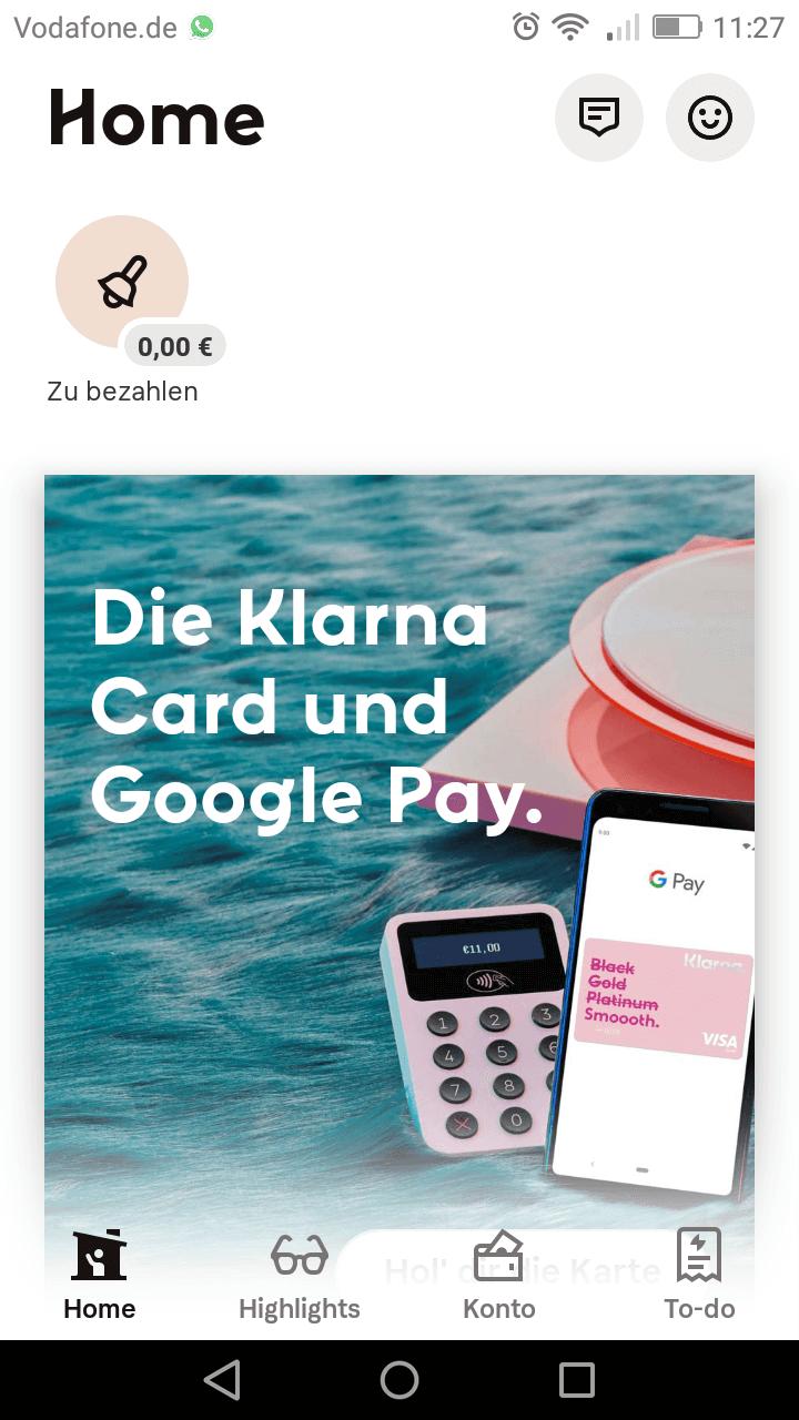Kontakt zu Klarna via App