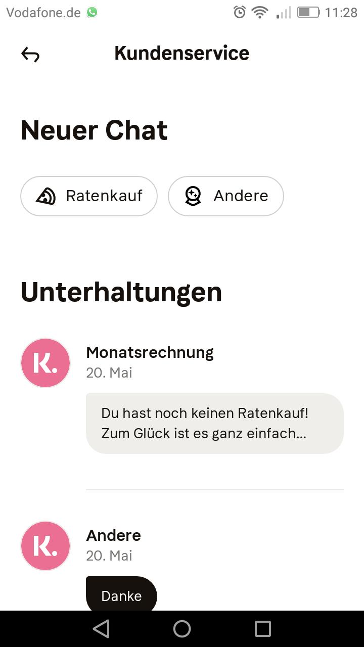 Chat in der App öffnen