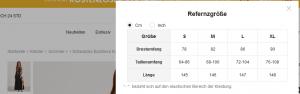Kleidergröße bei SheIn.com herausfinden