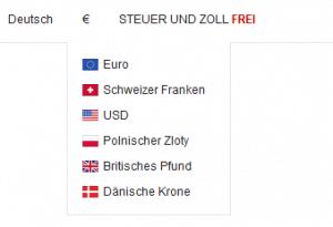 Währungen für die Bezahlung bei SheInside