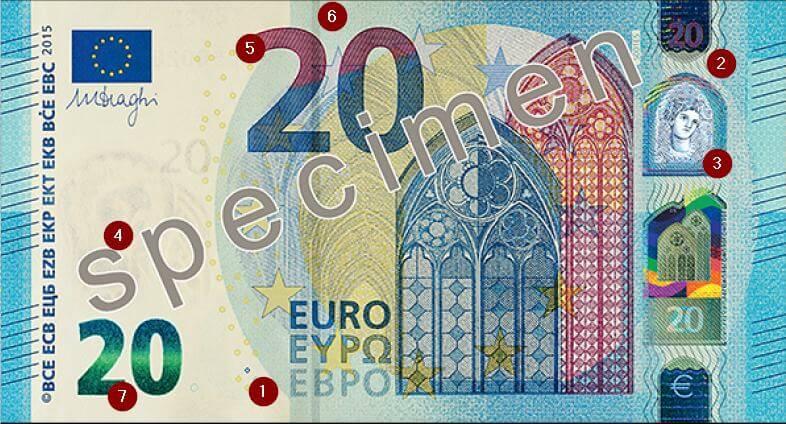 Sicherheitsmerkmale des 20-Euro-Schein.