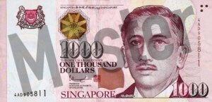 1.000 Singapur-Dollar (Vorderseite)