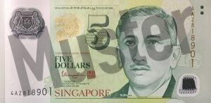 5 Singapur-Dollar (Vorderseite)
