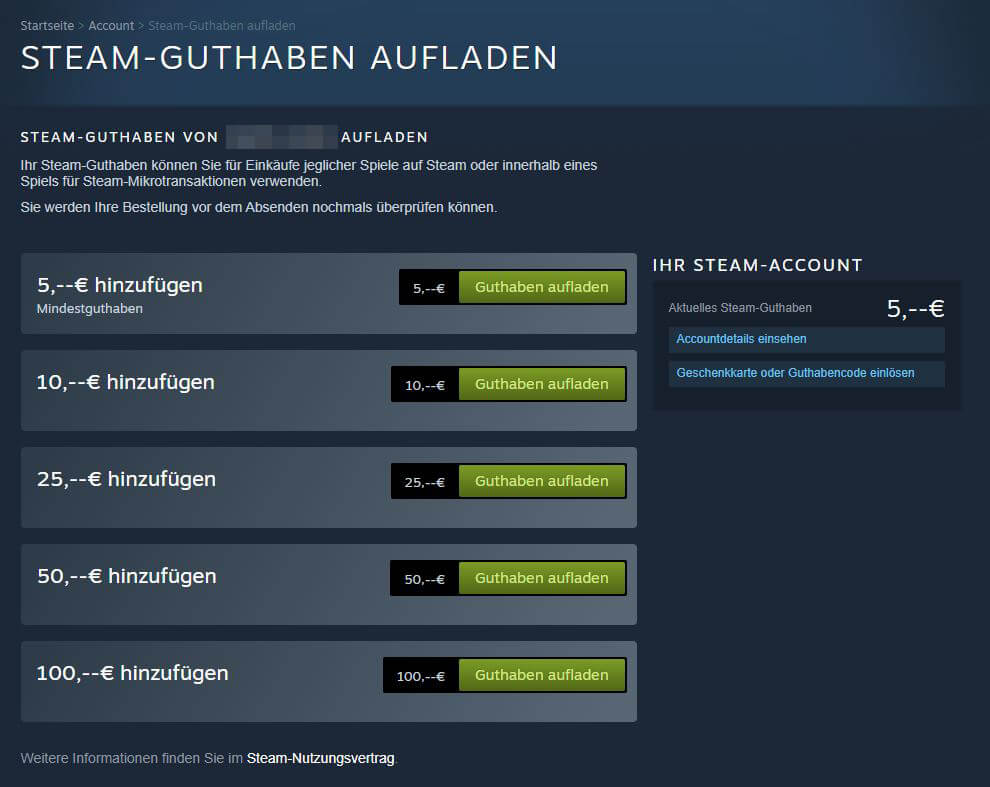 Guthaben bei Steam hinzufügen