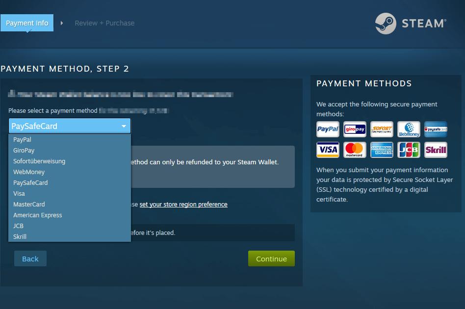 Paysafecard auf Steam einsetzen.