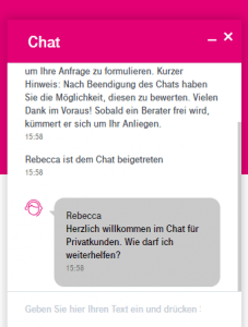Mit dem Kundenservice der Telekom chatten.