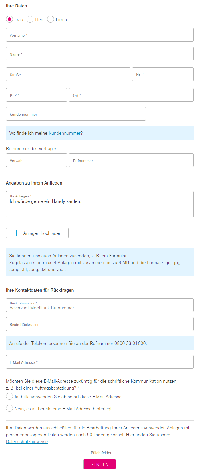 Telekom Kundenservice Kontakt
