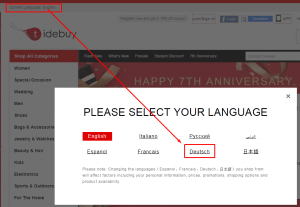 Sprache und Währung bei Tidebuy umstellen