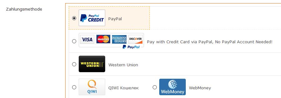 Wählen Sie Ihre Zahlungsart