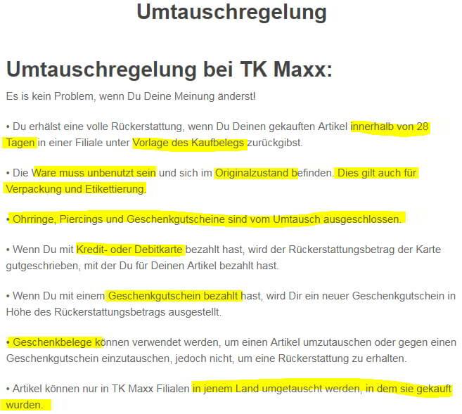 Voraussetzungen für Umtausch bei TK Maxx (Quelle: www.tkmaxx.de)