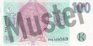 Tschechische Kronen (CZK) - 100 Banknote - Schein von Rückseite - Geldschein