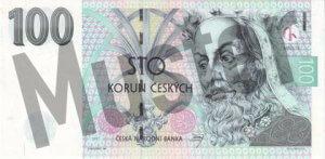 Tschechische Kronen (CZK) - 100 Banknote - Schein von vorne - Geldschein