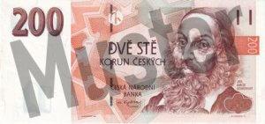 Tschechische Kronen (CZK) - 200 Banknote - Schein von vorne - Geldschein