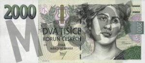 Tschechische Kronen (CZK) - 2000 Banknote - Schein von vorne - Geldschein