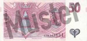 Tschechische Kronen (CZK) - 50 Banknote - Schein von Rückseite - Geldschein