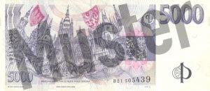 Tschechische Kronen (CZK) - 5000 Banknote - Schein von Rückseite - Geldschein