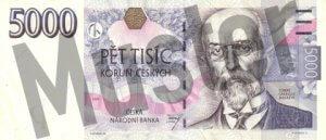 Tschechische Kronen (CZK) - 5000 Banknote - Schein von vorne - Geldschein