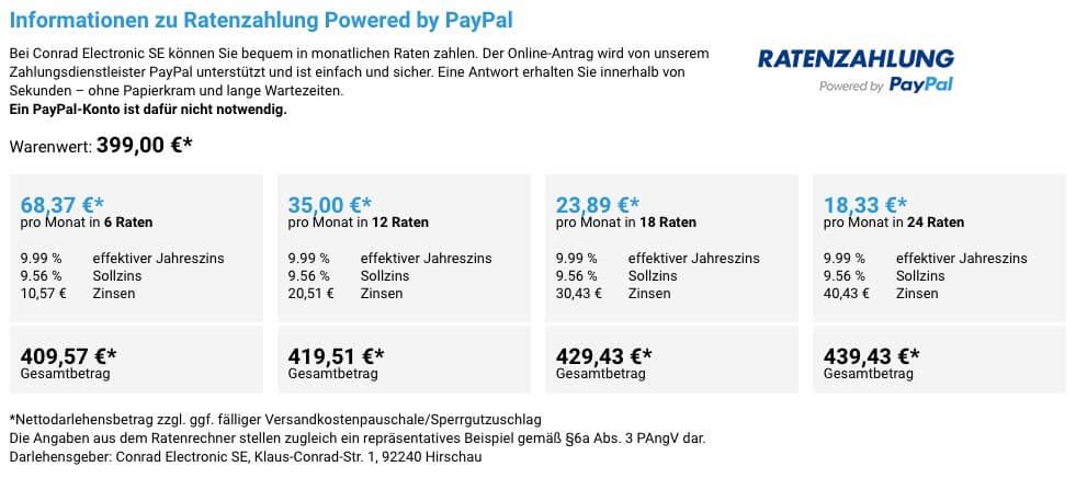 Übersicht über Raten und Zinsen bei PayPal Ratenzahlung