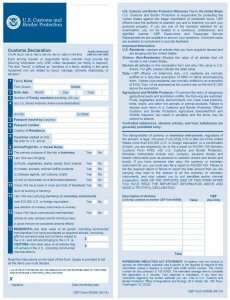 US Zollerklärung Formular 6059B