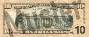 10-USD-US-Dollar-Banknote-Geldschein-Rueckseite