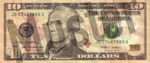 10-USD-US-Dollar-Banknote-Geldschein-Vorderseite