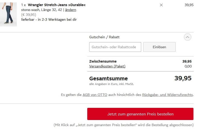 Otto Versandkosten Gutschein