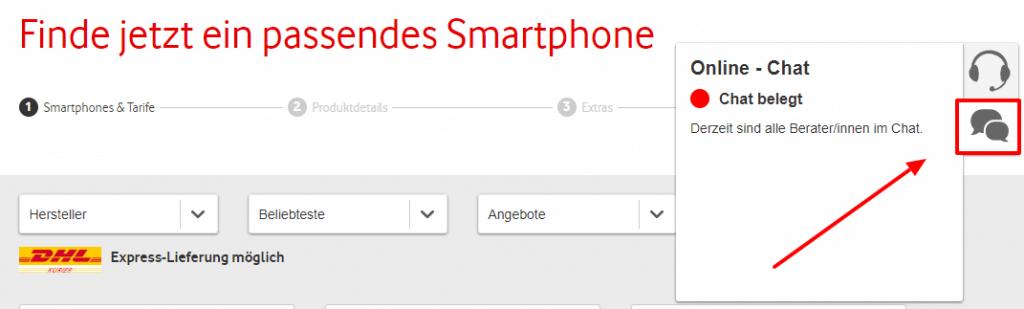 Vodafone Kundenservice per Chat anschreiben
