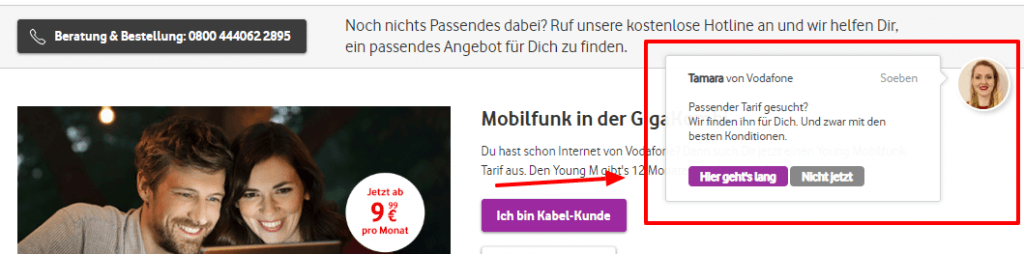 Rückrufservice bei Vodafone