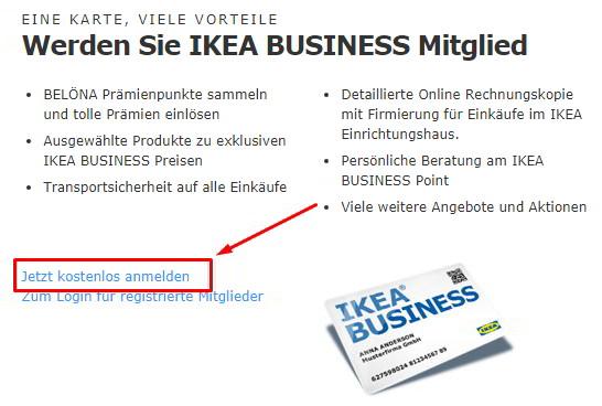 Anmeldung für Geschäftskunden