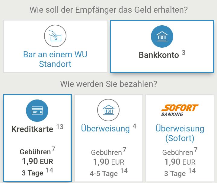 Optionen für die Ein- und Auszahlung mit der Western Union App