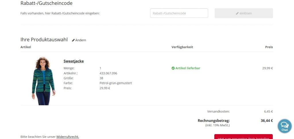 Versandkostengutschein bei Witt Weiden einfügen