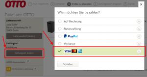 Als Zahlungsart bei OTTO können Sie auch PayPal wählen