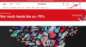 Warenkorb bei Zalando auswählen