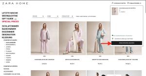 Warenkorb bei Zara einsehen